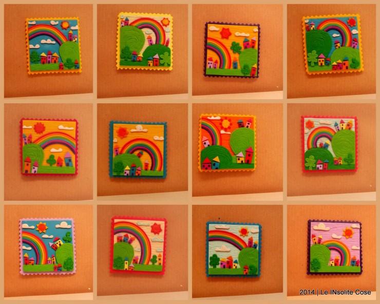 Cartoline dal Mio Mondo - Calamite Paesaggetti con Arcobaleno - Handmade with Fimo, without stamps - Le InSolite Cose 2014