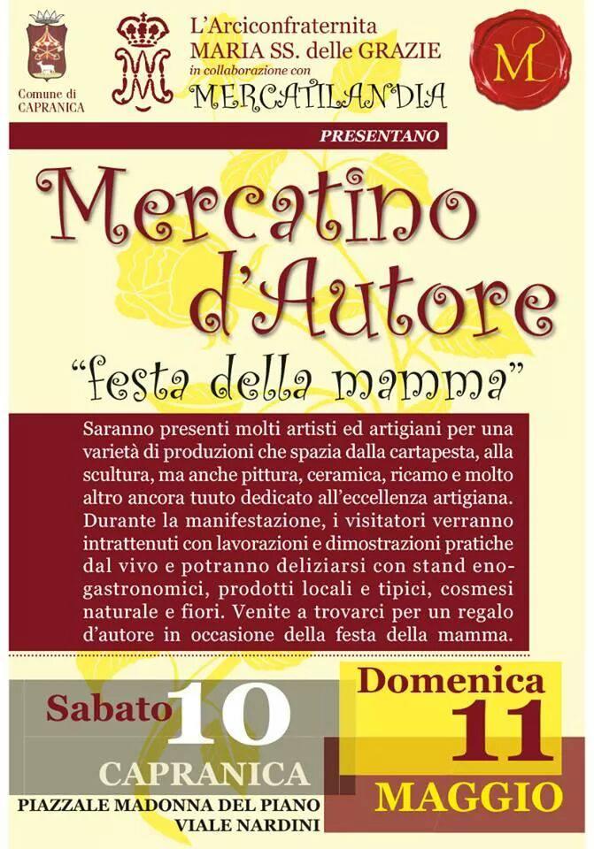 mercato d'autore festa della mamma a capranica (vt) 10 e 11 Maggio 2014 - processione madonna delle grazie