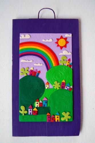 Paesaggio con Arcobaleno (Viola) – Disegno in rilievo, idea regalo inSolita –  2014