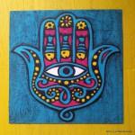 Mano di Fatima - disegno in rilievo in pasta polimerica - Le InSolite Cose 2014 (1)