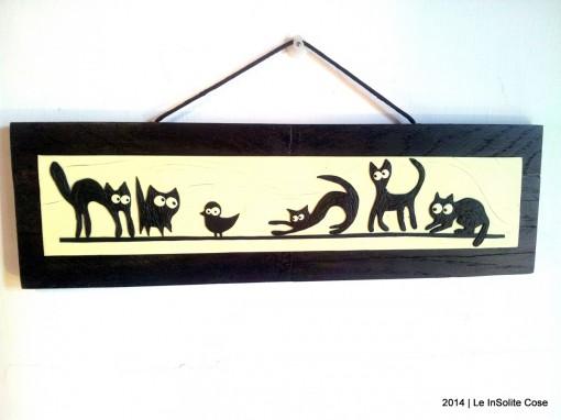Quadri Gatti Neri stilizzati con topi e uccellini