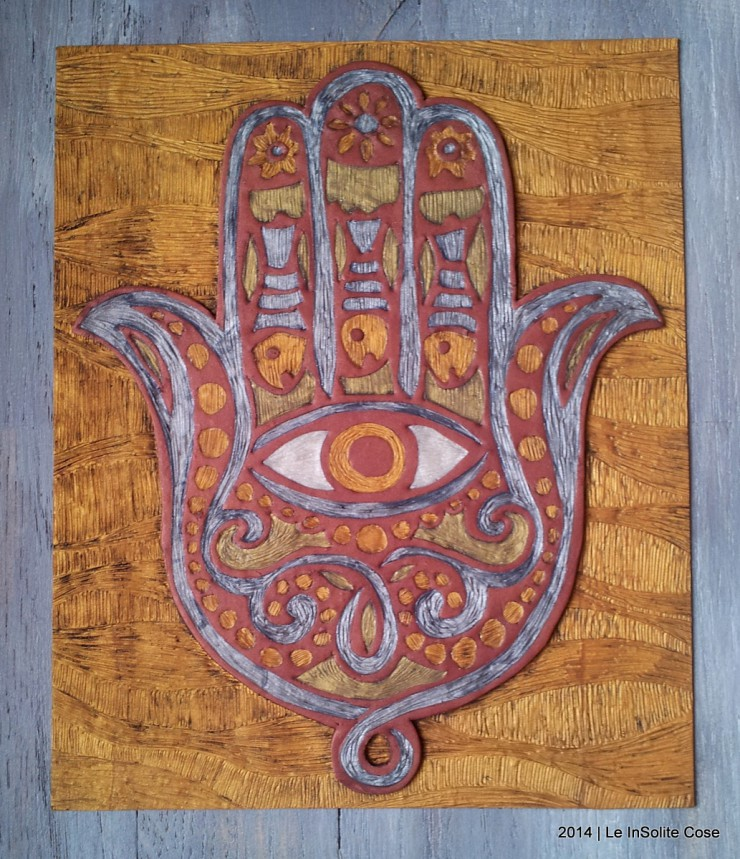 Mano di Fatima - disegno in rilievo in pasta polimerica - Le InSolite Cose 2014 (14)