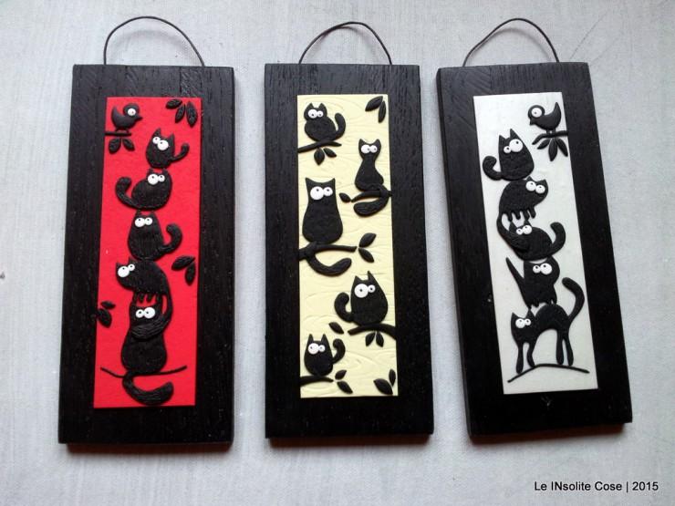 Quadretti gatti neri con uccellino - verticali - Le INsolite Cose 2015 (1)