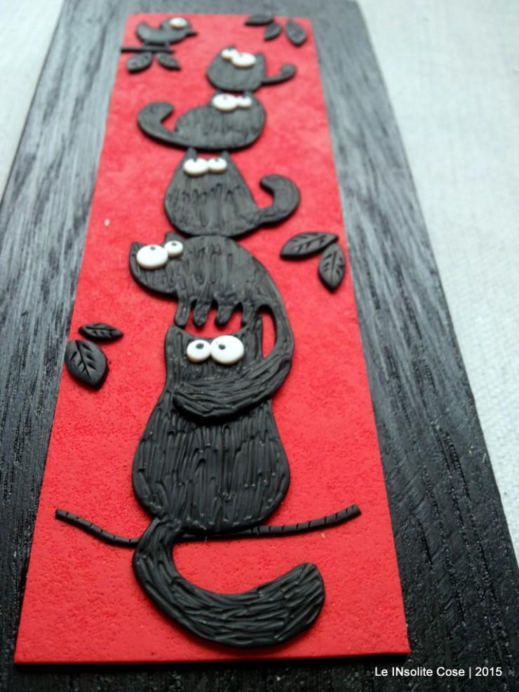 Quadretti gatti neri con uccellino - verticali - Le INsolite Cose 2015 (5)