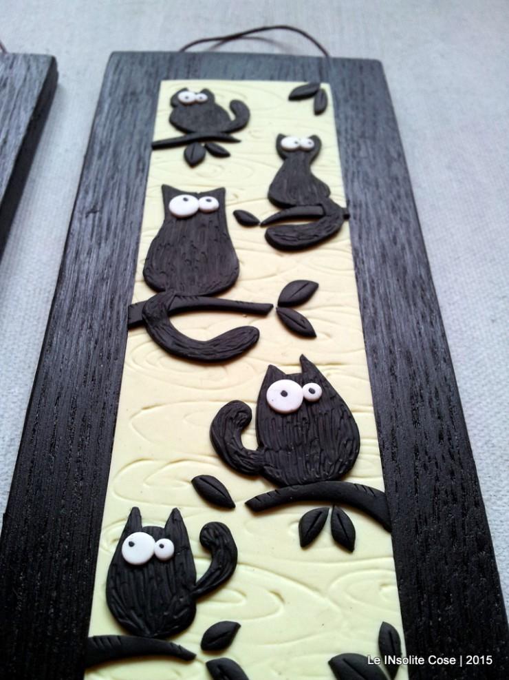 Quadretti gatti neri con uccellino - verticali - Le INsolite Cose 2015 (6)