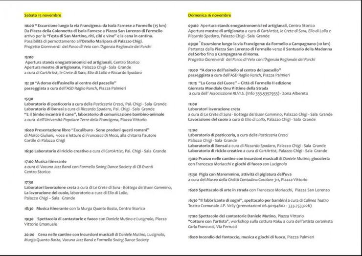 programma eventi ed elenco cantine aperte Formello 15 e 16 Novembre 2014 festa di san martino le insolite cose - versione stampa