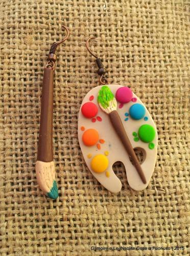Orecchini con Tavolozza e Pennello – una variazione sul tema