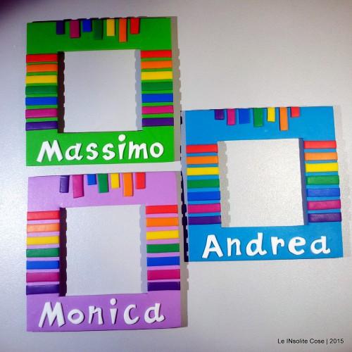 Calamita portafoto con nome e arcobaleno personalizzata