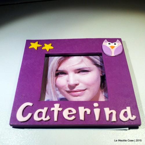 Cornice portafoto magnetica artigianale personalizzata con nome e gufetto