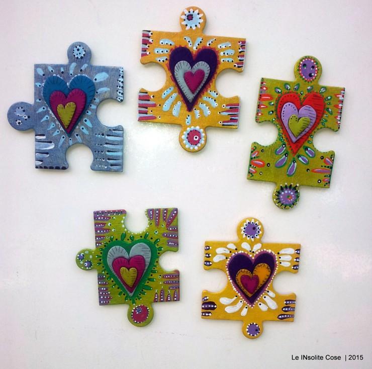 Calamite 'the missing piece' puzzle gigante dipinto a mano e cuore in pasta polimerica - Le INsolite Cose 2015 (1)