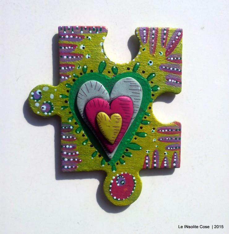 Calamite 'the missing piece' puzzle gigante dipinto a mano e cuore in pasta polimerica - Le INsolite Cose 2015 (3)