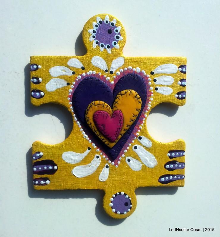 Calamite 'the missing piece' puzzle gigante dipinto a mano e cuore in pasta polimerica - Le INsolite Cose 2015 (4)