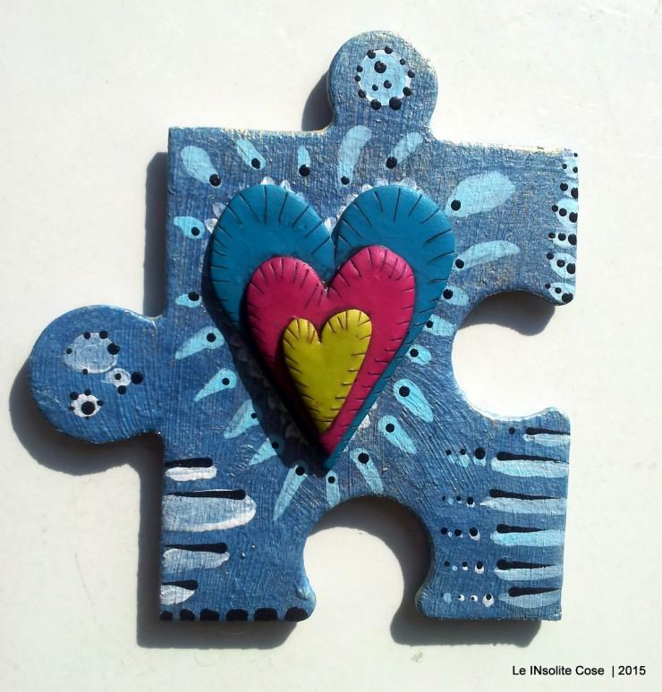 Calamite 'the missing piece' puzzle gigante dipinto a mano e cuore in pasta polimerica - Le INsolite Cose 2015 (5)