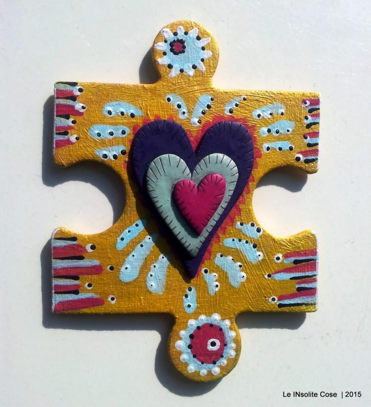 Calamite 'the missing piece' puzzle gigante dipinto a mano e cuore in pasta polimerica - Le INsolite Cose 2015 (6)
