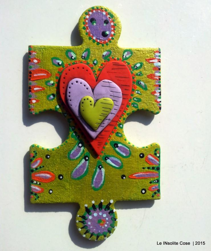 Calamite 'the missing piece' puzzle gigante dipinto a mano e cuore in pasta polimerica - Le INsolite Cose 2015 (7)