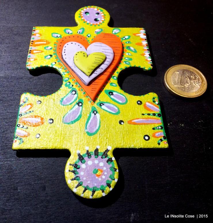 Calamite 'the missing piece' puzzle gigante dipinto a mano e cuore in pasta polimerica - Le INsolite Cose 2015 (9)