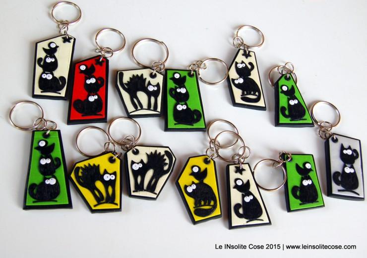 Portachiavi con gatti neri stilizzati - Le INsolite Cose - www.leinsolitecose.com - 2015 (1)