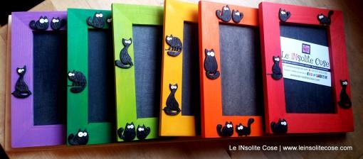 Cornici portafoto in legno con Gatti Neri