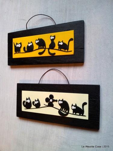 Tavolette con gatti neri stilizzati – Orizzontali – 2015
