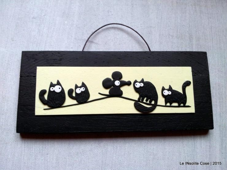 Quadretti gatti neri - con topo -  orizzontali - Le INsolite Cose 2015  (2)