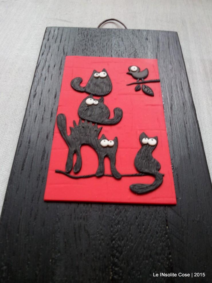 Quadretti gatti neri con uccellino - verticali - Le INsolite Cose 2015 (2)