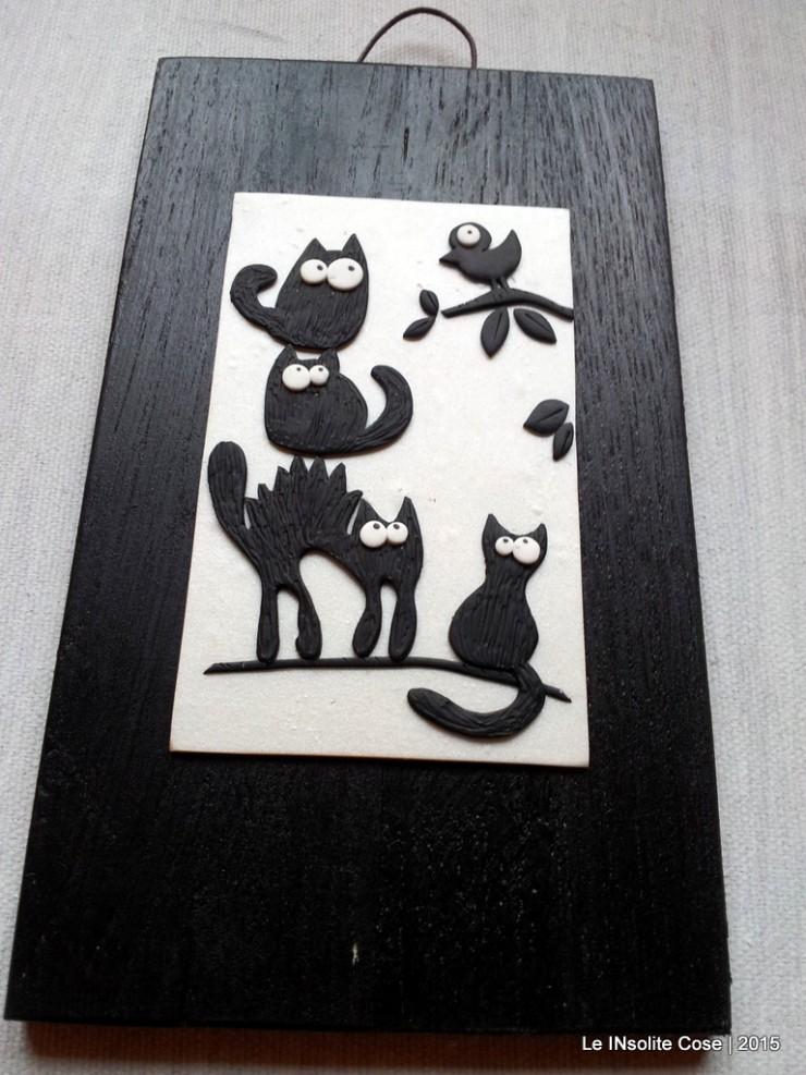 Quadretti gatti neri con uccellino - verticali - Le INsolite Cose 2015 (3)