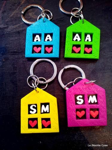Portachiavi a casetta personalizzati con iniziali – una richiesta