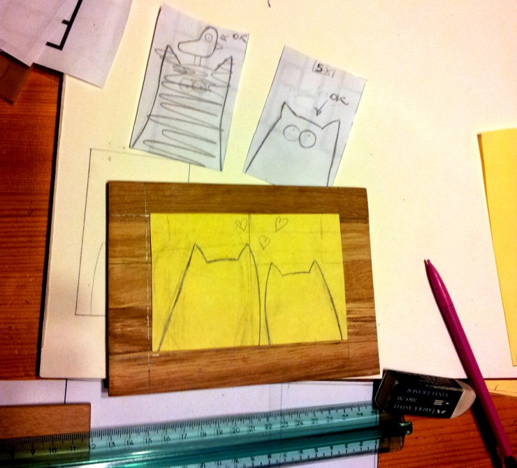 Tavolette Gatti neri stilizzati - making of - le INsolite Cose 2015 (3)