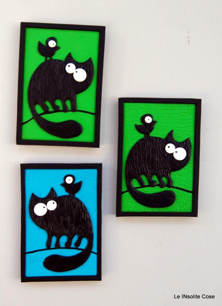 Calamita gatto nero con uccellino sulla schiena - Le INsolite Cose 2015 (1)