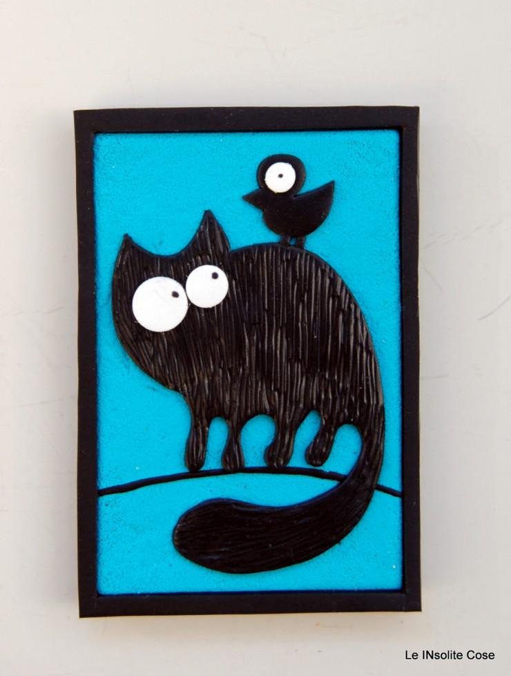 Calamita gatto nero con uccellino sulla schiena - Le INsolite Cose 2015 (5)
