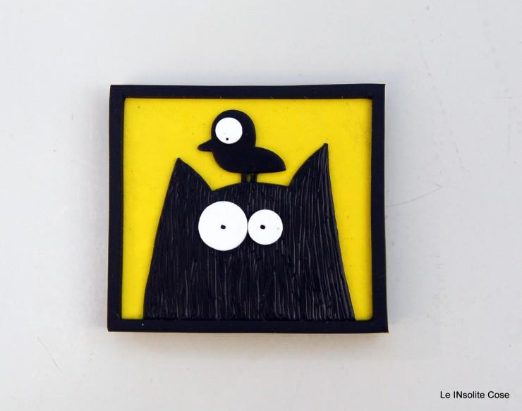 Calamite Gatto nero con Uccellino in testa- Le INsolite Cose (2)