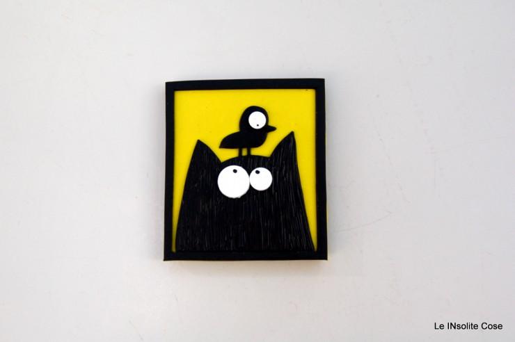 Calamite Gatto nero con Uccellino in testa- Le INsolite Cose (3)