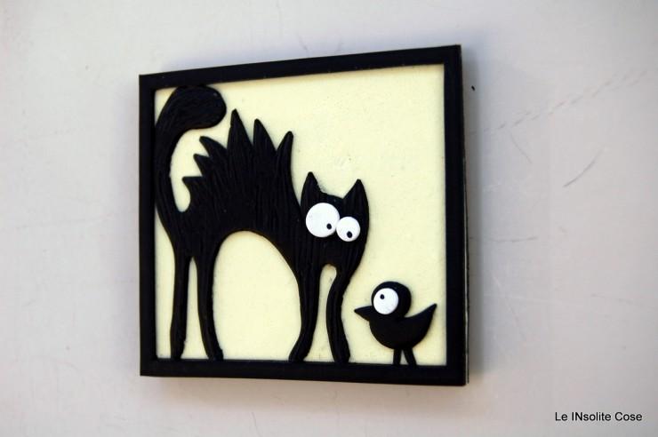 Calamite gatto nero arruffato con uccellino - o senza - Le INsolite Cose 2015 (4)