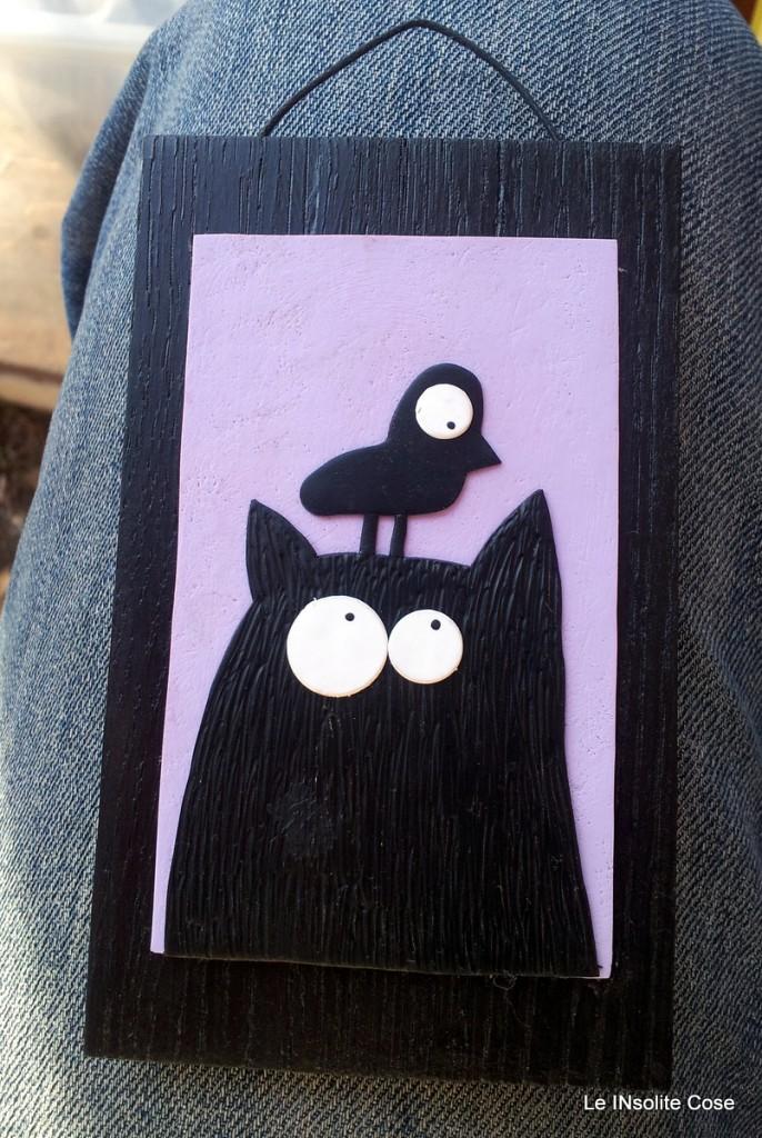 Tavolette Gatto con uccellino sulla testa - le INsolite Cose 2015 (1)