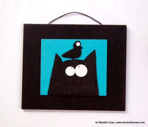 Tavoletta con Gatto Nero Stilizzato e Uccellino – Fondo Blu