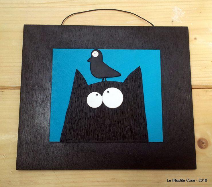 Tavoletta gatto con uccello - fondo blu - le INsolite Cose 2016 (1)