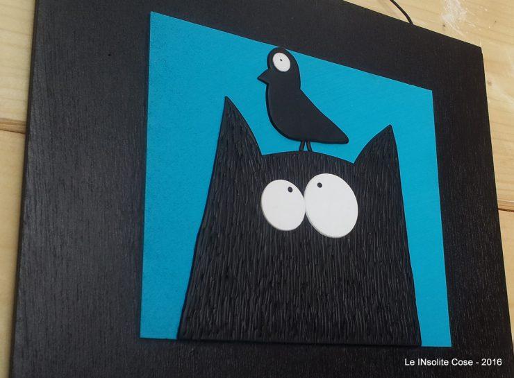 Tavoletta gatto con uccello - fondo blu - le INsolite Cose 2016 (5)