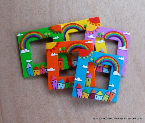 Cornici magnetiche portafoto con arcobaleno, sole, nuvole e casine