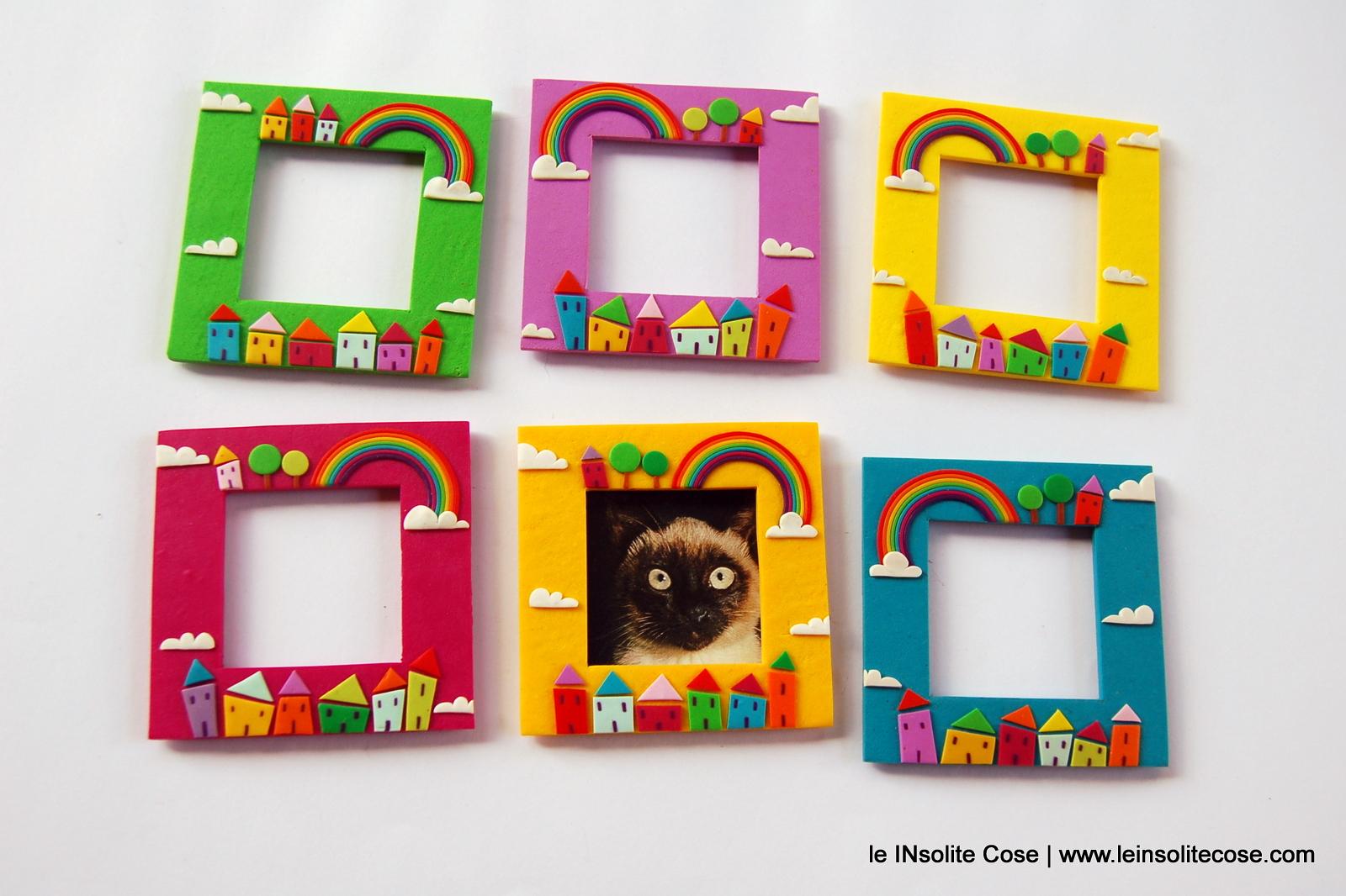 cornici magnetiche portafoto con arcobaleno alberi