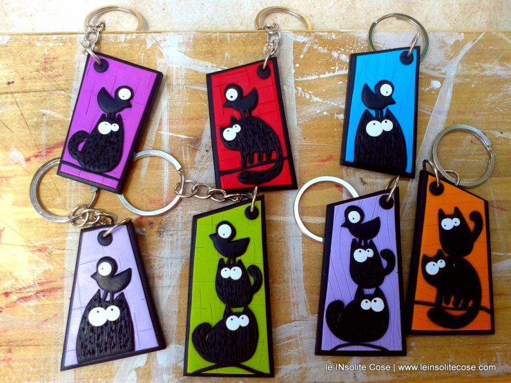 Portachiavi Gatti neri personalizzabili