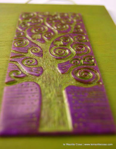 Albero della Vita, versione incisa: Viola e Verde Wasabi