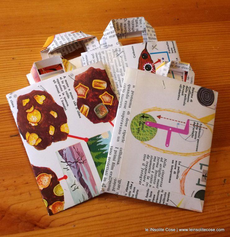 Bustine shopper realizzate con carta di recupero da enciclopedie anni '60 e '70.