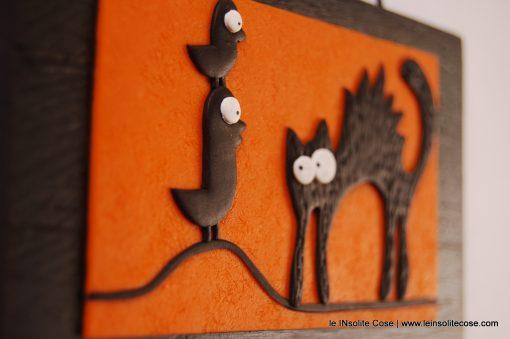 Tavoletta Gatto Nero con due Uccellini – 12×7 cm circa